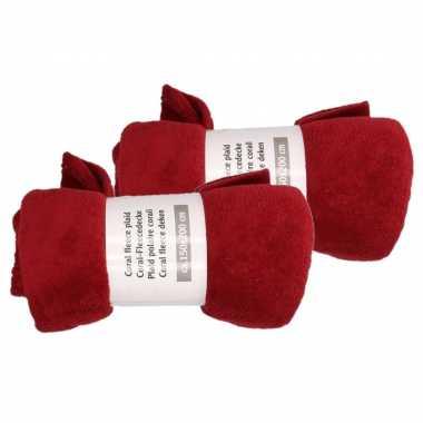 Camping 2x wijn rode fleece plaid/dekentje 150 x 200 cm kopen