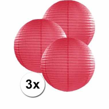 Camping  3 bolvormige lampionnen fuchsia roze 35 cm kopen
