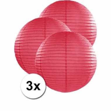 Camping  3 bolvormige lampionnen fuchsia roze 50 cm kopen