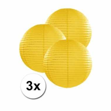 Camping  3 bolvormige lampionnen geel 25 cm kopen