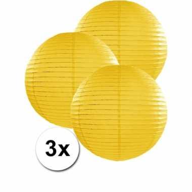 Camping  3 bolvormige lampionnen geel 35 cm kopen