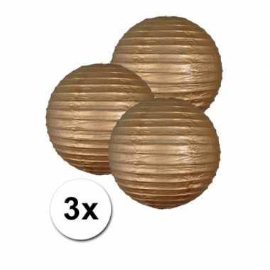 Camping  3 bolvormige lampionnen goud 25 cm kopen