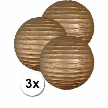 Camping  3 bolvormige lampionnen goud 35 cm kopen