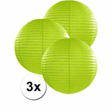 Camping  3 bolvormige lampionnen groen 35 cm kopen