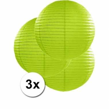 Camping  3 bolvormige lampionnen groen 50 cm kopen
