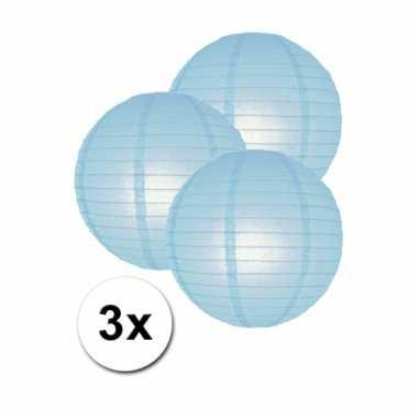 Camping  3 bolvormige lampionnen licht blauw 25 cm kopen