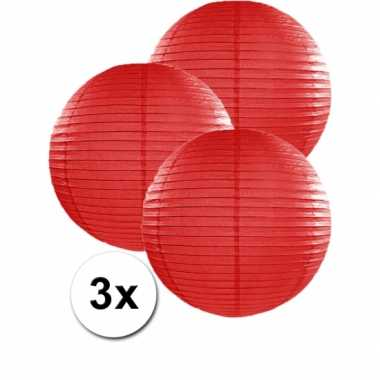Camping  3 bolvormige lampionnen rood 35 cm kopen
