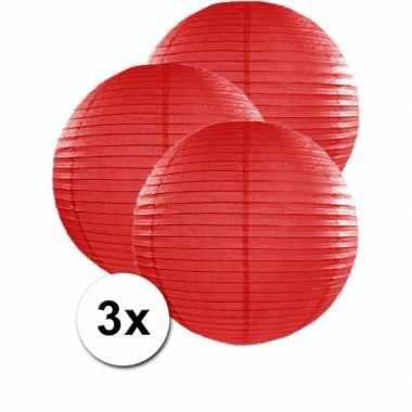 Camping  3 bolvormige lampionnen rood 50 cm kopen