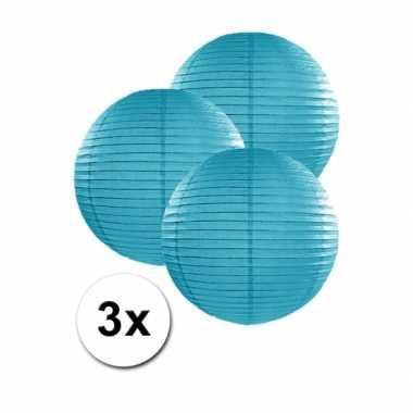 Camping  3 bolvormige lampionnen turquoise blauw 25 cm kopen