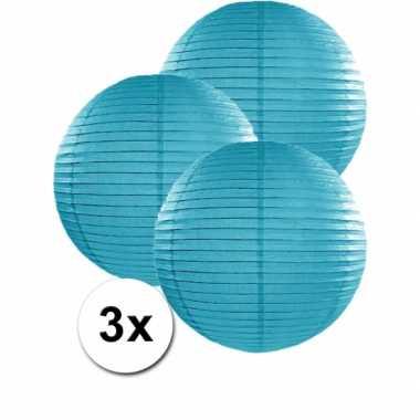 Camping  3 bolvormige lampionnen turquoise blauw 35 cm kopen
