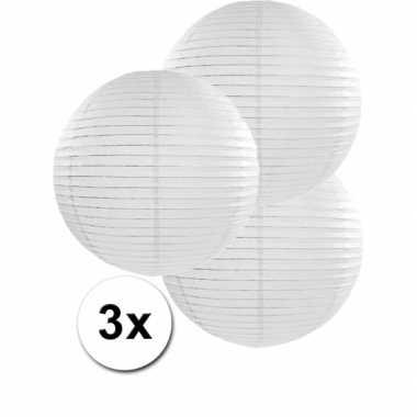 Camping  3 bolvormige lampionnen wit 35 cm kopen
