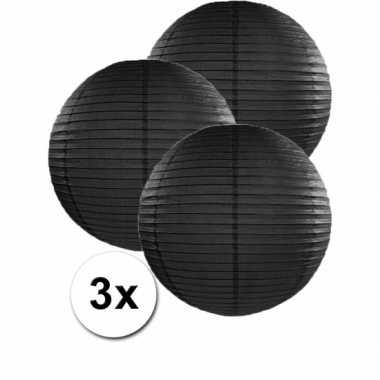 Camping  3 bolvormige lampionnen zwart 35 cm kopen