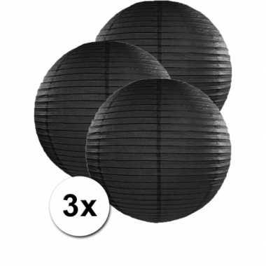 Camping  3 bolvormige lampionnen zwart 50 cm kopen