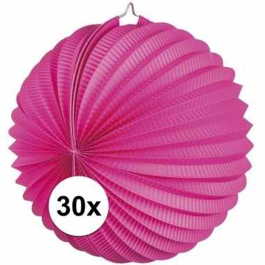 Camping 30 fuchsia roze party lampionnen kopen