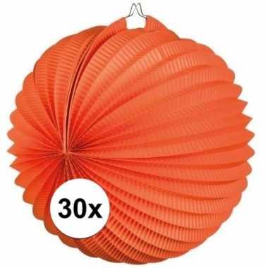 Camping 30 ronde oranje lampionnen kopen