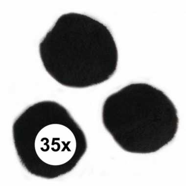 Camping 35x knutsel pompons 25 mm zwart hobby knutselen kopen