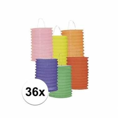 Camping 36x gekleurde lampionnetjes kopen