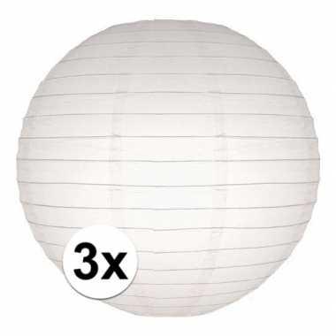 Camping 3x bol lampionnen in het wit 25 cm kopen