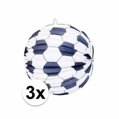 Camping 3x lampionnen met voetbalmotief kopen