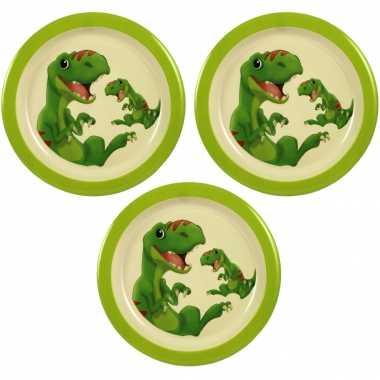 Camping 3x melamine borden dinosaurus wit/groen 21,5 cm voor kinderen kopen