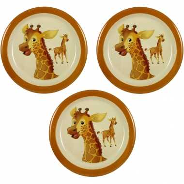 Camping 3x melamine borden giraffe wit/bruin 21,5 cm voor kinderen kopen