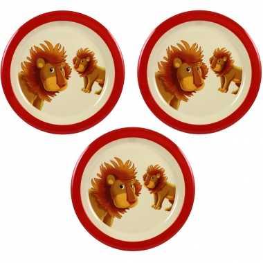 Camping 3x melamine borden leeuw wit/rood 21,5 cm voor peuters/kinderen kopen