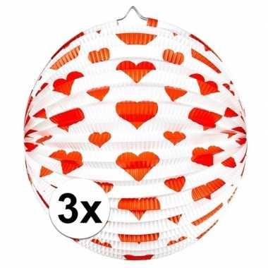 Camping 3x ronde rood/witte bollampion met hartjes kopen