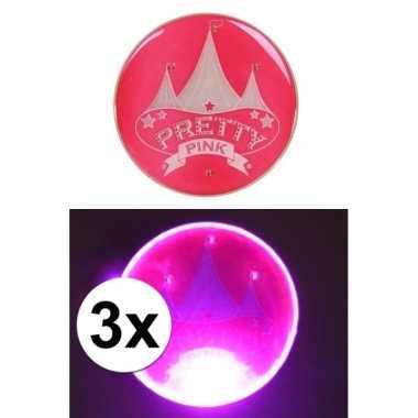 Camping 3x roze buttons met lampje en circus kopen