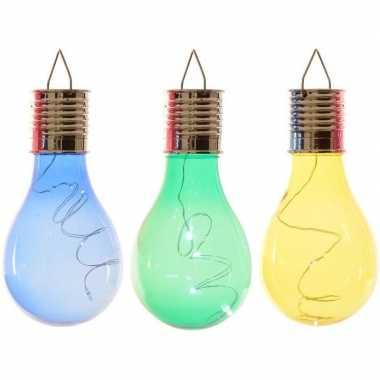 Camping 3x solarlamp lampbolletjes/peertjes op zonne-energie 14 cm blauw/groen/geel kopen