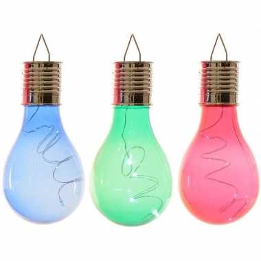 Camping 3x solarlamp lampbolletjes/peertjes op zonne-energie 14 cm blauw/groen/rood kopen