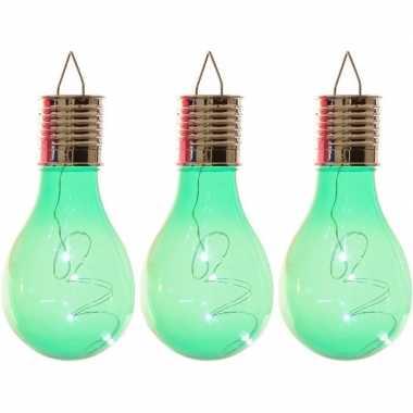 Camping 3x solarlamp lampbolletjes/peertjes op zonne-energie 14 cm groen kopen