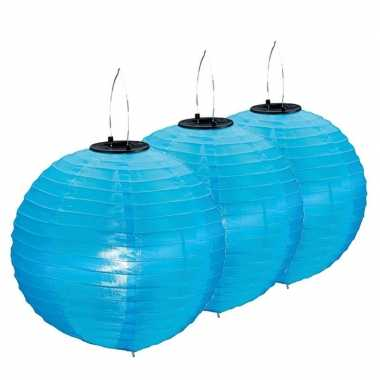 Camping 3x stuks blauwe solar lampionnen op zonne energie 30 cm kopen