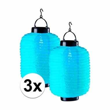 Camping 3x tuin / balkon lampionnen op zonne energie blauw kopen