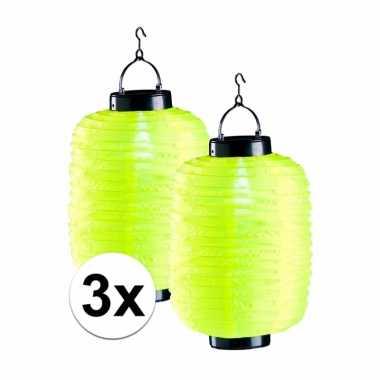 Camping 3x tuin / balkon lampionnen op zonne energie geel kopen