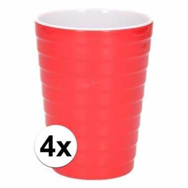 Camping 4 onbreekbare drinkbekers rood 300 ml kopen