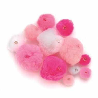 Camping 45 knutsel pompons met kunststof ogen roze/lichtroze/wit kope