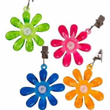Camping 4x buitentafelkleed gewichten gekleurde bloemetjes 6 cm kopen