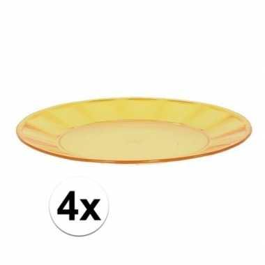 Camping 4x geel picknick bord 25 cm kopen