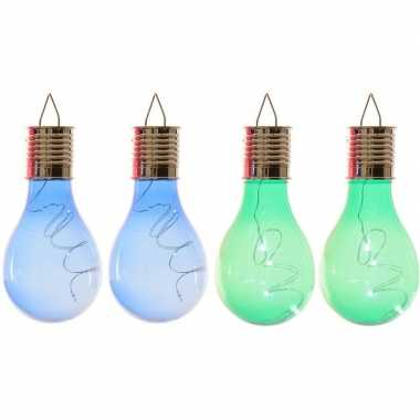 Camping 4x solarlamp lampbolletjes/peertjes op zonne-energie 14 cm blauw/groen kopen
