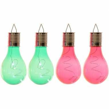 Camping 4x solarlamp lampbolletjes/peertjes op zonne-energie 14 cm groen/rood kopen