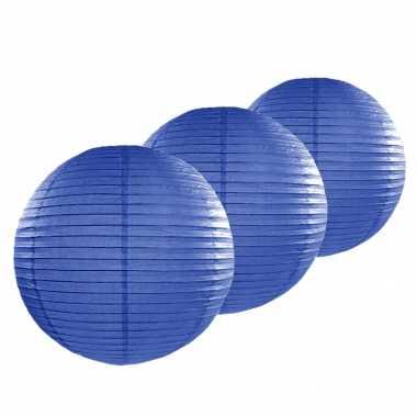 Camping 4x stuks bol lampionnen donkerblauw 50 cm kopen