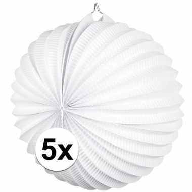 Camping 5 papieren lampionnen wit 22 cm kopen