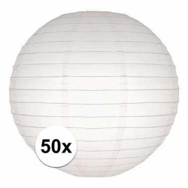 Camping 50x bol lampionnen in het wit 25 cm kopen