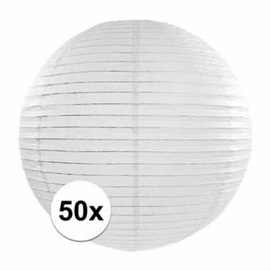 Camping 50x witte bol lampionnen van 35 cm kopen