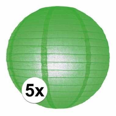 Camping 5x bol lampionnen groene versiering van 25 cm kopen