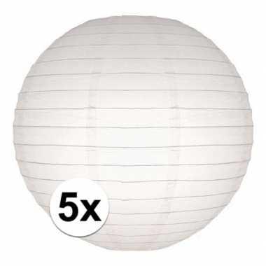 Camping 5x bol lampionnen in het wit 25 cm kopen