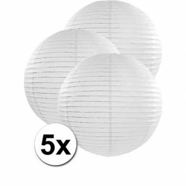 Camping 5x bolvormige bruiloft lampionnen wit van 50 cm kopen