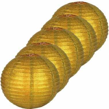 Camping 5x gouden glitter lampionnen 25 cm kopen