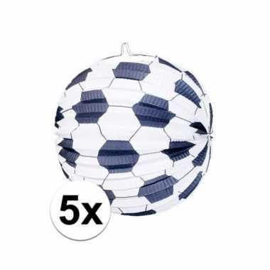 Camping 5x lampionnen met voetbalmotief kopen