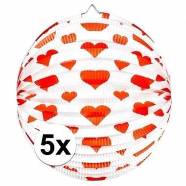 Camping 5x ronde rood/witte bollampion met hartjes kopen